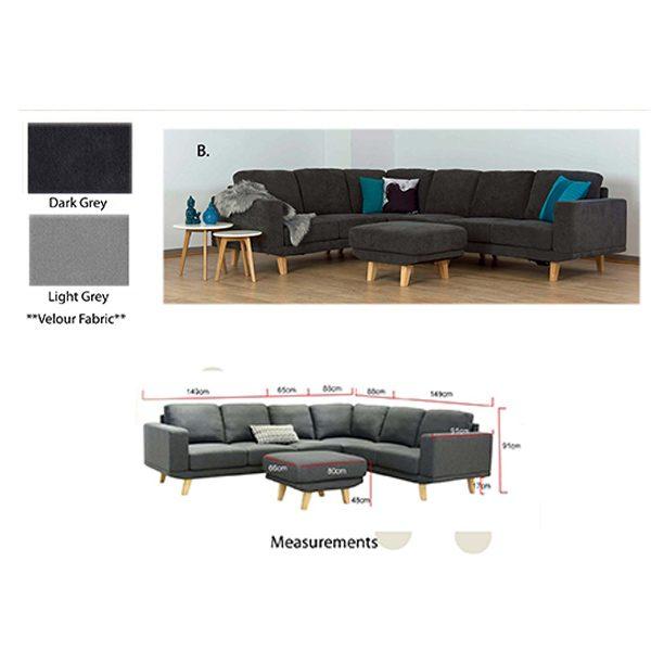 Metropolis Lounge Suite colours and measurements