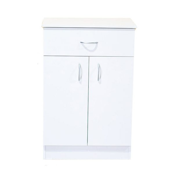 White Melamine 1 Drawer, 2 Door Cupboard