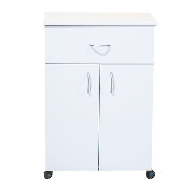 White Melamine 1 Drawer, 2 Door Trolley