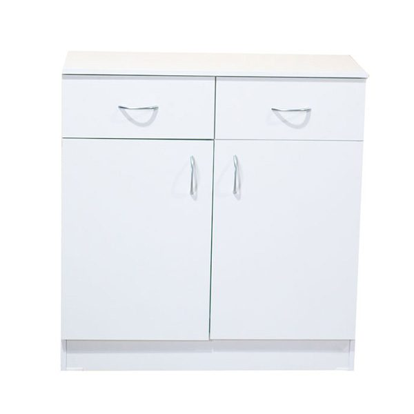 White Melamine 2 Drawer, 2 Door Cupboard