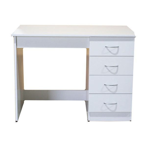 White Melamine Desk with 4 Drawers