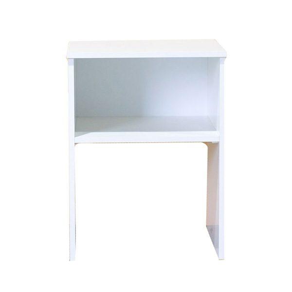 White Melamine Open Shelf Side Table